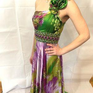 NWT Jovani prom satin dress size 0 FLORAL